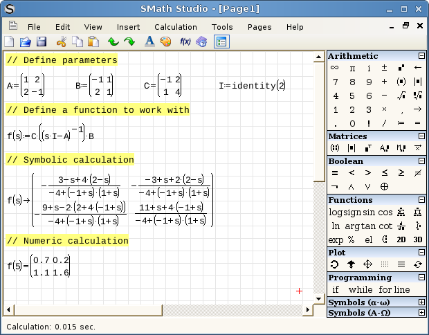 SMath running on Linux