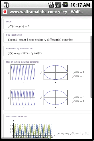 Wolfram Alpha on an Android browser